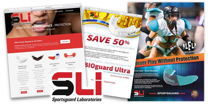 Brochures/Flyers | Branding | Web Design | Search Engine Optimization | Trade Show Graphics | Magazine Ads - Sportsguard Laboratories