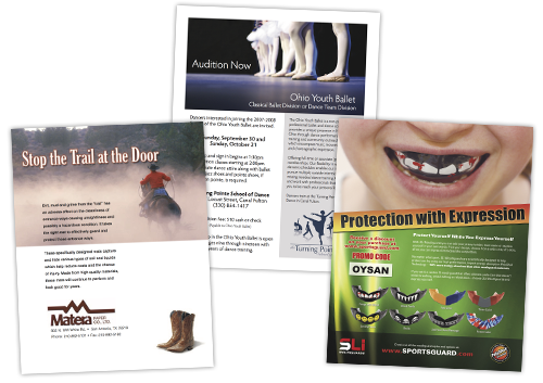 Brochures, sell sheets, and flyer design.